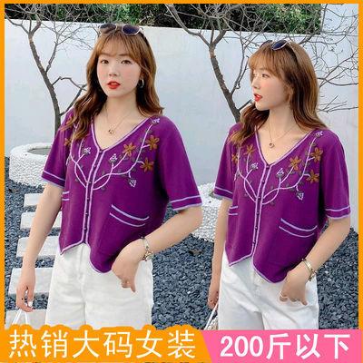 200斤大码女装2020夏新款t恤韩版复古刺绣小花胖mm短款针织衫2782
