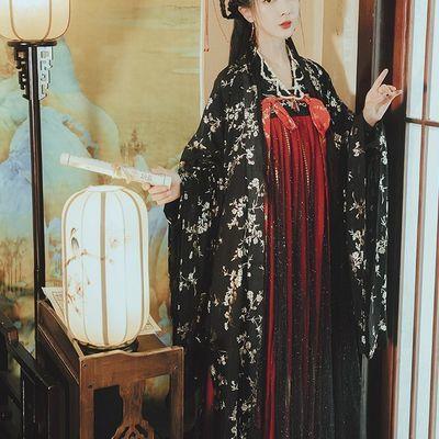 原创汉服女两片式唐制齐胸襦裙女汉服红色非古装