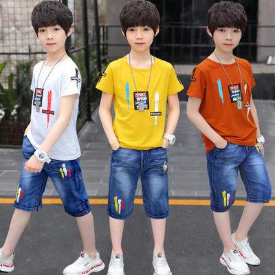 【95棉T恤+牛仔中裤】童装男童短袖套装2020新款夏装中大童运动服