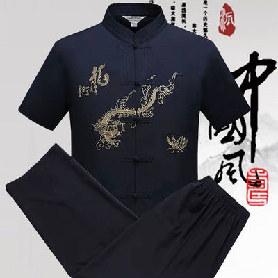 唐装男中老年人长袖套装中国风汉服爸爸短袖爷爷装寿宴薄款两件套