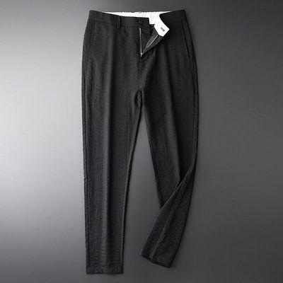 夏季新款薄款休闲裤男中青年裤子透气凉爽男士时尚直筒西裤长裤男