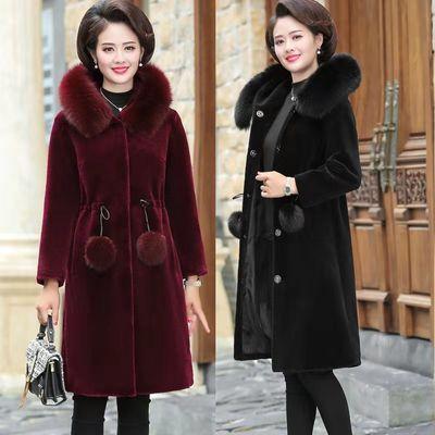 妈妈装冬装水貂绒大衣中长款中老年女装仿皮草洋气外套冬加厚保暖
