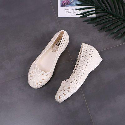 可玲儿sky韩版包头坡跟凉鞋女夏季学生白色防滑塑料洞洞护士鞋