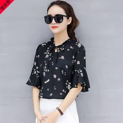 夏季中年妇女雪纺衫短袖T恤女士衣30-40-50岁年轻妈妈装夏天上衣