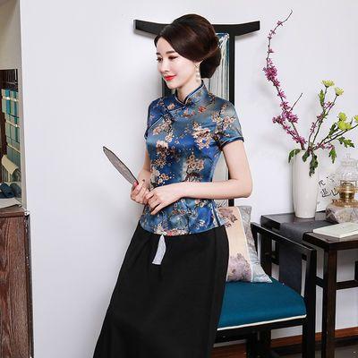 复古旗袍上衣单层丝绸中国风民族优雅气质显瘦夏季短袖上衣女短款