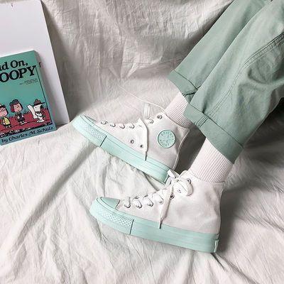 好品质夏季初恋绿高帮帆布鞋女鞋子春秋2020潮鞋百搭网红板鞋韩版