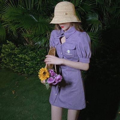 小雏菊气质女神范紫色修身牛仔连衣裙收腰显瘦泡泡袖小个子淑女裙