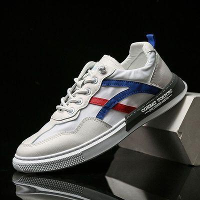 夏季韩版男士平底板鞋条纹透气帆布鞋潮流薄款休闲鞋百搭小白鞋子