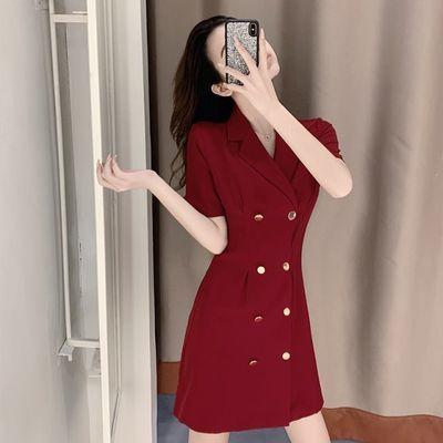 新款夏装2020年新款网红气质修身显瘦双排扣黑色西装连衣裙子