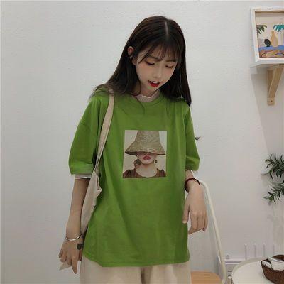 2020韩国大码个性印花T恤女夏季新款牛油果绿网纱袖宽松Chic上衣