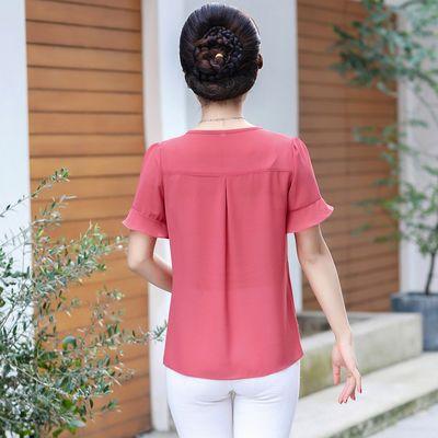 妈妈夏装短袖T恤雪纺衫中老年春夏季中年妇女装洋气长袖大码上衣