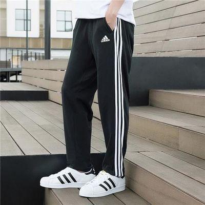 阿迪达斯裤子男裤2020夏季新款运动裤三条纹跑步长裤收口裤FM5459