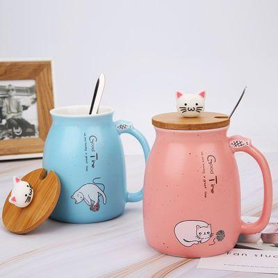 创意可爱马克杯女猫咪陶瓷杯带盖带勺情侣杯子水杯家用咖啡牛奶杯