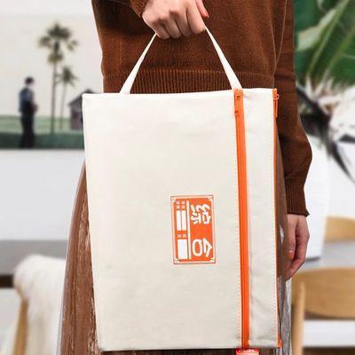 A4拉链帆布文件袋 双层科目袋试卷收纳袋 学生手提分类课本资料袋