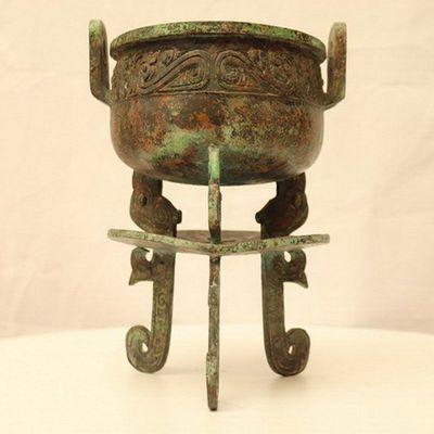青铜鼎青铜双层鼎食器青铜器仿古工艺品礼品博物架收藏品影视道具