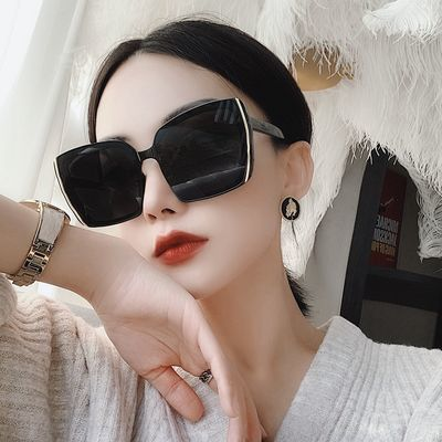 欧美新款瘦脸复古方形太阳镜时尚网红大框墨镜潮素颜个性太阳眼镜