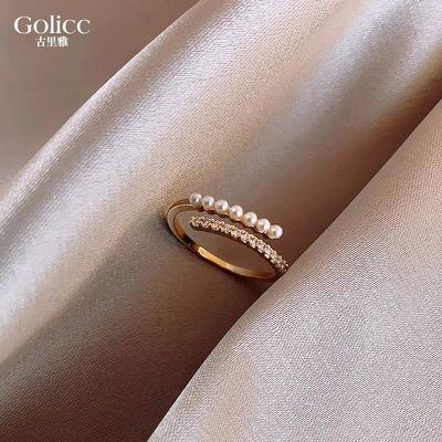 珍珠戒指女时尚个性食指指环ins潮网红冷淡风日系轻奢时尚素圈