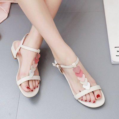 65017/欧蔓莎一字扣带低跟凉鞋女2021夏季新款韩版百搭仙女爱心粗跟凉鞋