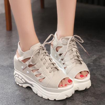 厚底内增高凉鞋女夏坡跟防水台松糕鞋2020夏季女鞋缕空透气休闲鞋
