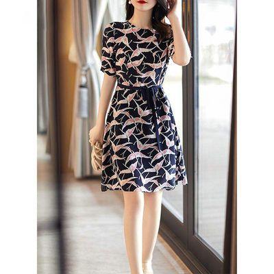 2020夏季新款圆领女装雅蓝粉调衬肤显白仙鹤仿桑蚕丝显瘦连衣裙潮