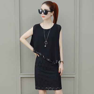 【莱瑞丽】一衣两穿雪纺连衣裙女装夏季新款蕾丝显瘦假两件裙子潮