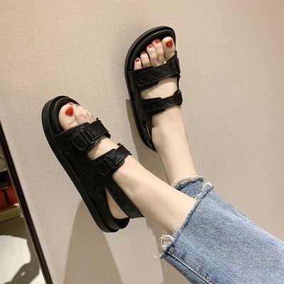 凉鞋女2020年新款夏季魔术贴运动休闲复古厚底小香风凉鞋女平底鞋