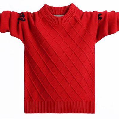 男童毛衣秋冬中大童套头针织衫加绒加厚儿童装5-15洋气打底衫