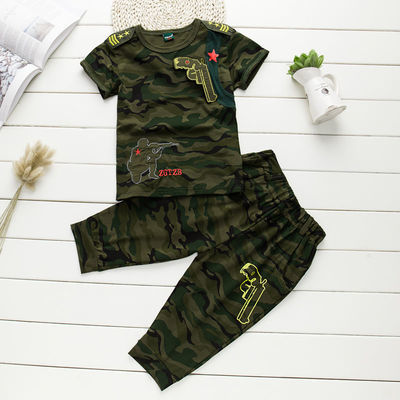 男童夏装套装2019新款夏季4儿童迷彩服5短袖t恤9纯棉10中大童运动