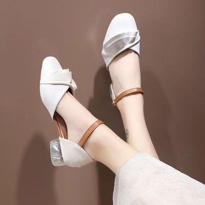 包头凉鞋女2020夏季新款气质淑女搭配裙子仙女风水晶粗中跟单鞋女