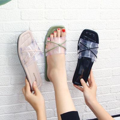2020网红INS新款凉拖鞋女士夏外穿学生韩版时尚一字拖甜美沙滩鞋