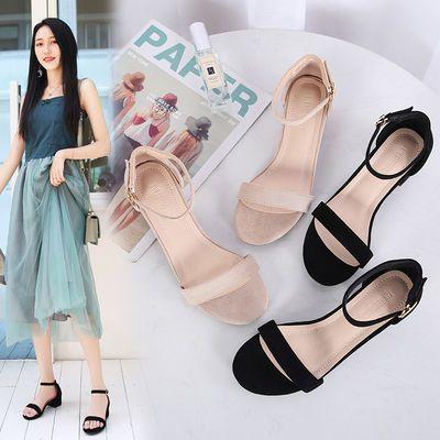 凉鞋女仙女风夏季新款低跟一字带扣网红黑色粗跟中跟罗马韩版百搭