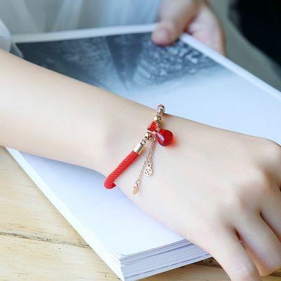 钱袋本命年幸运转运编织情侣红玛瑙镀玫瑰金红绳手链手绳女礼物