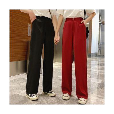 垂感拖地阔腿西装裤女2020春夏新款高腰西装裤小个子休闲直筒长裤