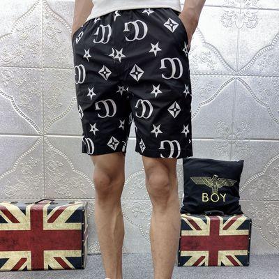 网红ins百搭休闲五分裤社会小伙显瘦沙滩裤夏季薄款印花短裤男潮