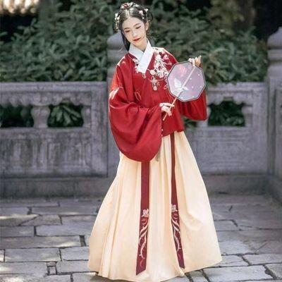 绮梦日汉服女学生常古装款刺绣红色上袄褶裙明制交领袄裙套装服饰