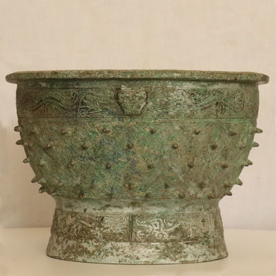 乳钉纹盘青铜器仿古工艺品摆件仿真品博物馆收藏品影视道具仿铜器