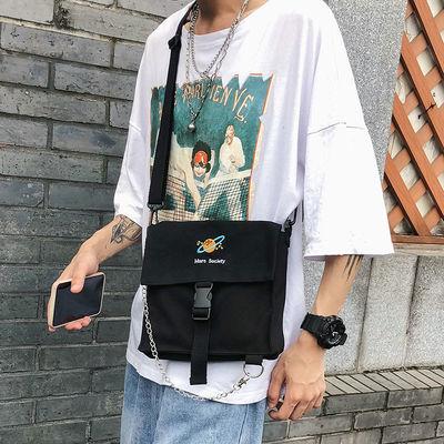 斜挎包男ins潮小包韩版个性潮流学生单肩包休闲帆布背包男生包包