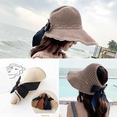 波浪边空顶帽子夏季折叠可卷渔夫帽女百搭时尚大檐防晒沙滩遮阳帽