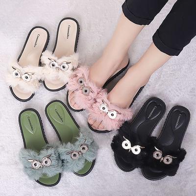 2020春夏季毛毛拖鞋女可爱猫头鹰毛外穿小清新韩版一字拖毛毛鞋