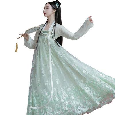 【现货】唐制汉服套装女齐胸襦裙仙女学生古装长款大袖衫中国风夏
