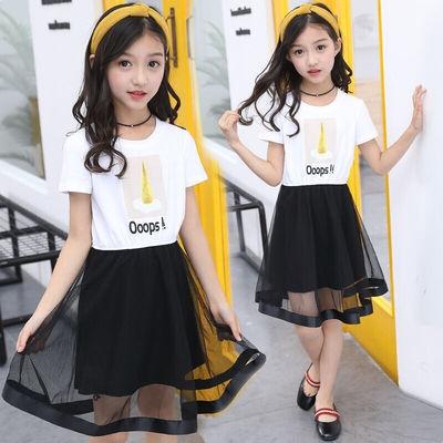 女童连衣裙儿童公主裙2020夏季新款大童纱裙3-7-15岁女孩夏天短袖