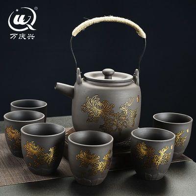 原矿紫砂提梁壶复古整套功夫茶具套装家用泡茶壶茶杯冷水壶大容量