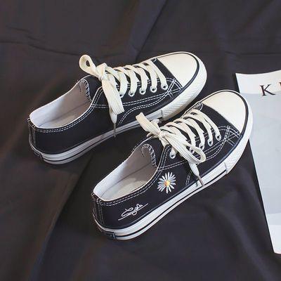 新款网红小雏菊帆布鞋女学生低帮平底韩版休闲鞋百搭复古夏天薄款