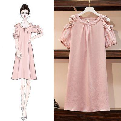 大码女装200斤胖妹妹2020夏季新款时尚洋气遮肉显瘦宽松连衣裙女