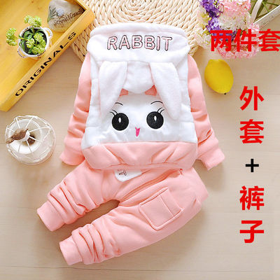 女宝宝加绒套装2冬装婴儿保暖衣服1一3岁女童夹棉卫衣三件套9个月