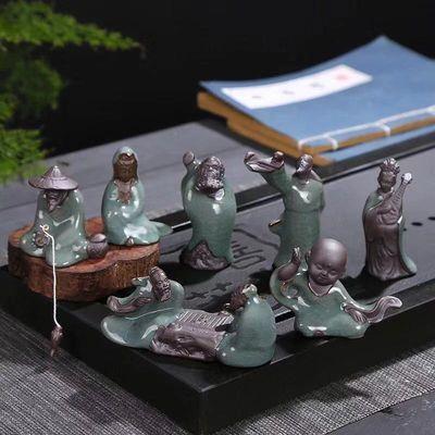 热卖花宠桌面禅意迷你小摆件陶瓷创意茶宠哥窑小和尚微景观花盆装