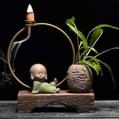 热卖风化木小和尚倒流香香炉禅意摆件创意陶瓷香插家用茶道檀香香