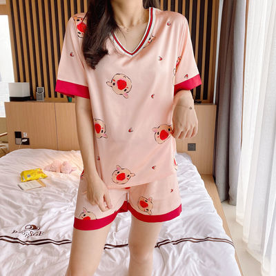 睡衣女夏季短袖冰丝学生韩版公主甜美可爱V领可外穿ins小猪猪套装