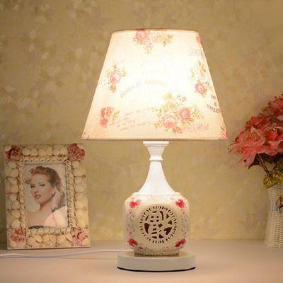 热卖优质超赞欧式遥控结婚庆卧室床头灯客厅调光暖光插电节能布艺