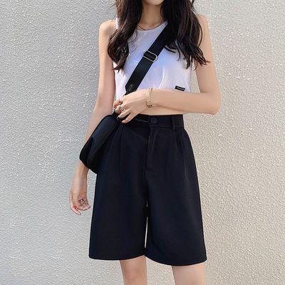 雪纺西装短裤女高腰a字2020年夏季宽松显瘦阔腿中裤休闲五分裤子